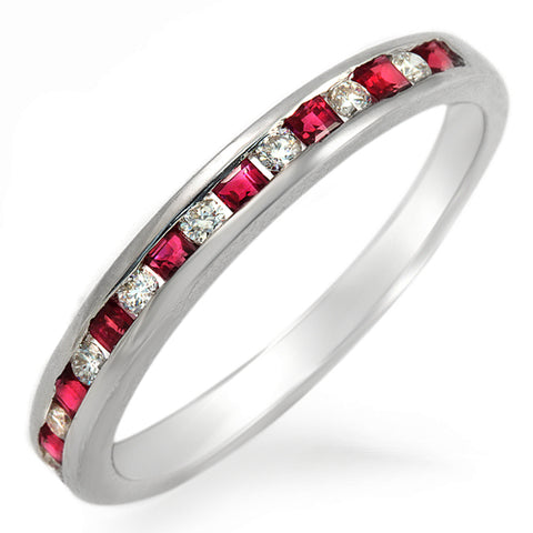 0.16 CT Round Diamonds & 0.32 Pink Sapphire 18K White Gold Wedding Band Ring