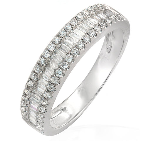 0.55 CT Baguette & Round Diamonds G SI1 in 18K White Gold Half Wedding Band Ring