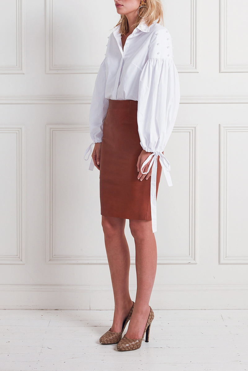 LEATHER PENCIL SKIRT TAN