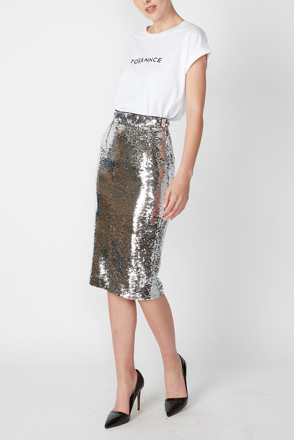 SEQUIN PENCIL SKIRT SILVER