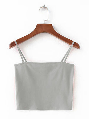 Backless Strap Cami Tank Top In Grey - Mint Limit