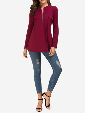 Zip Front V-Neck Tunic Tops In Red