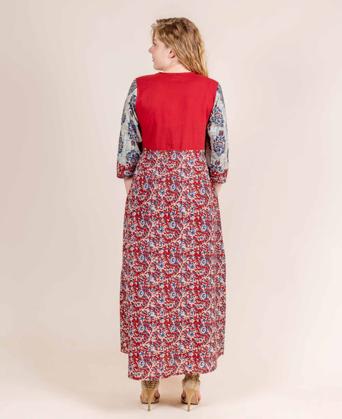 Red and Beige Full Length Hand Block Printed Jaipuri Kurti