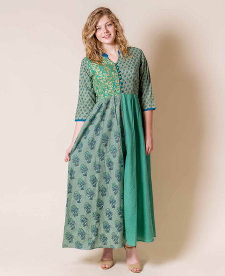 Embroidered Layered Mustard yellow straight floor length kurta