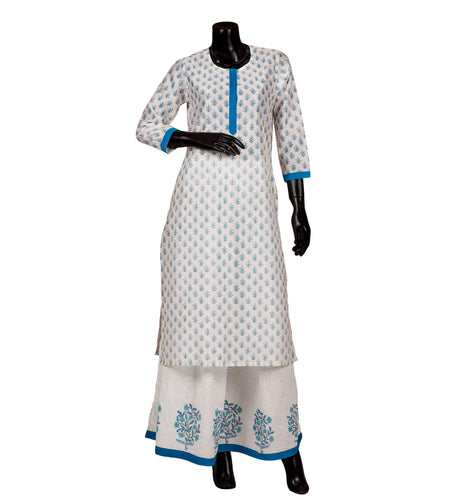 Cotton hand block printed Suit set in blue and white