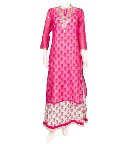 Embroidered & hand block printed Chanderi dress in white and pink