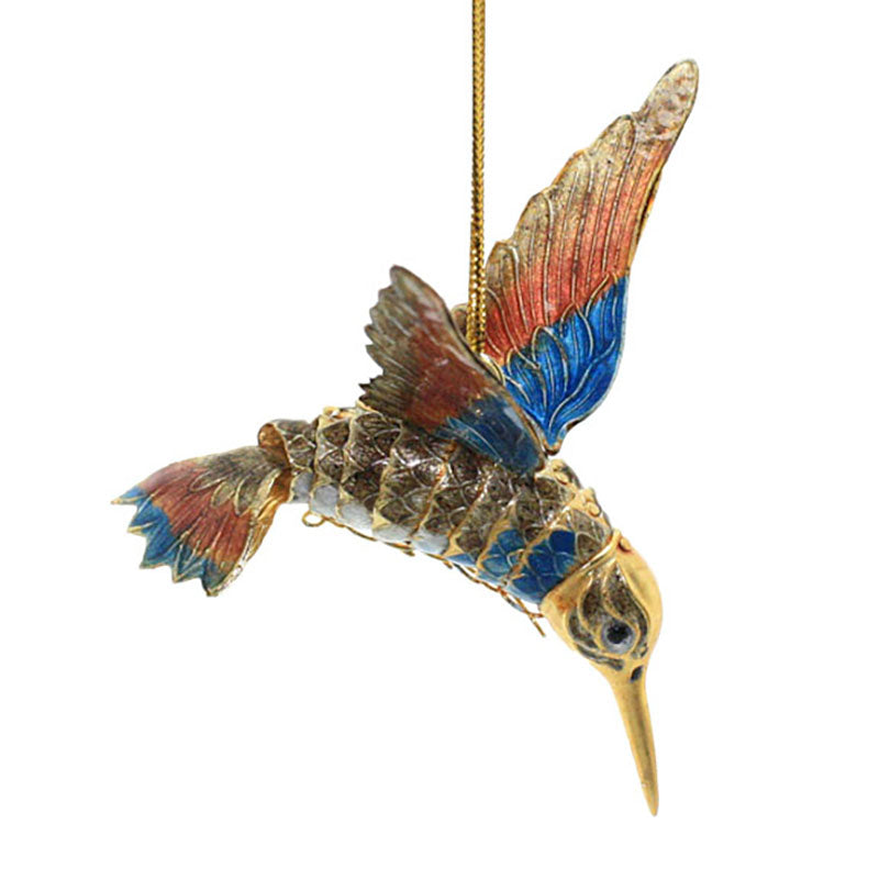 blue and orange articulated cloisonne hummingbird ornament