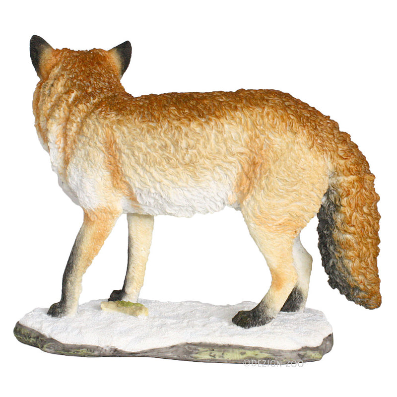 red fox standing figurine back view