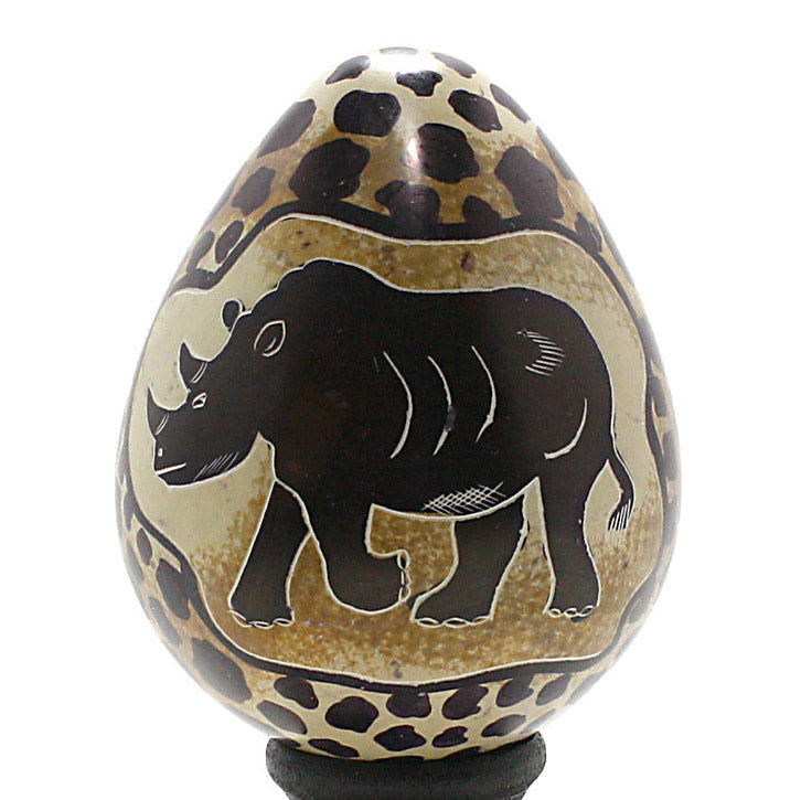 carved soapstone rhinoceros egg sculpture