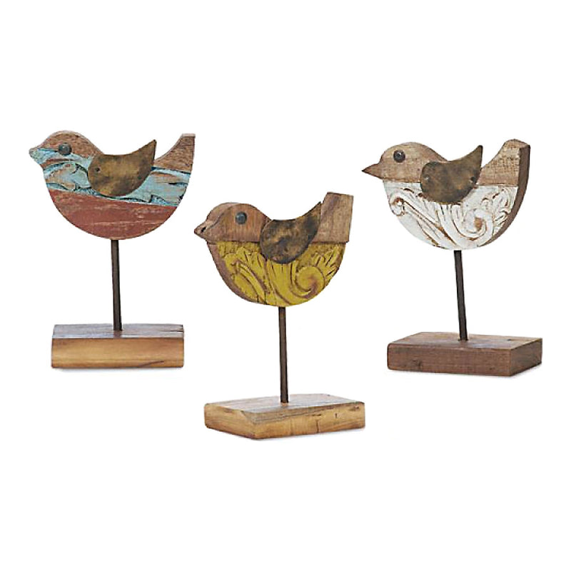 rustic wood and iron bird sculptures