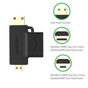 2pcs Mini/Micro HDMI to HDMI Adapter - Ugreen