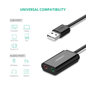 UGREEN USB Audio Adapter External Stereo Sound Card with 3.5mm Headphone and Microphone Jack for Windows, Mac, Linux, PC, Laptops, Desktops, PS4 - Ugreen