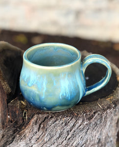 Aqua Blue Crystal Drippy Ceramic Coffee Espresso Mug 10 oz - Hsiaowan Studios Handmade Ceramics Pottery