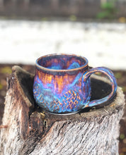 Load image into Gallery viewer, Faceted Aurora borealis N° 1- Drippy Purple Ceramic Mug 14 oz - Hsiaowan Studios Handmade Ceramics Pottery