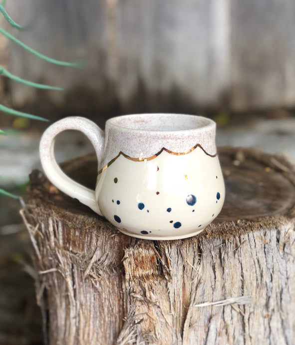Real Gold Luster Blue Polka Dots Ceramic Coffee Mug 10 oz - Hsiaowan Studios Handmade Ceramics Pottery