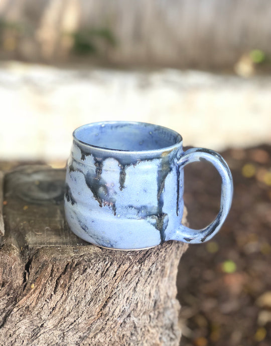 Blue Crystal Drippy Brush Strokes Ceramic Coffee Mug 15 oz - Hsiaowan Studios Handmade Ceramics Pottery