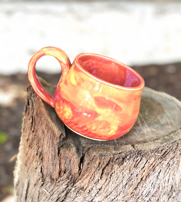 Flaming Sunset Ceramic Coffee Mug Hand Carved texture  12 oz - Hsiaowan Studios Handmade Ceramics Pottery