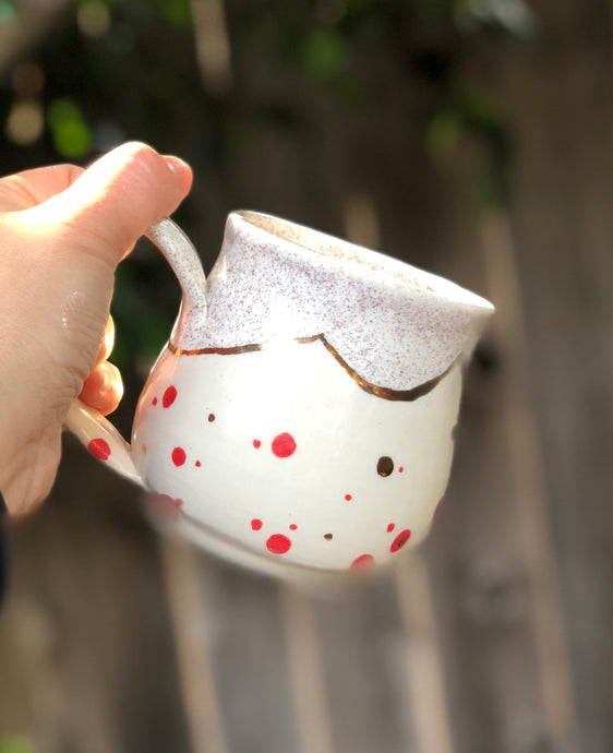 Real Gold Luster Red Polka Dots Ceramic Coffee Mug 10 oz - Hsiaowan Studios Handmade Ceramics Pottery