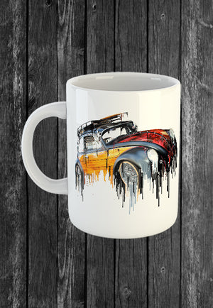 Exclusive Handmade Mug VW Volkswagon Vdub Beetle | Mugs With Sayings, Personalised Gifts, Presents, Drinkware, Kitchen, Liquid Metal