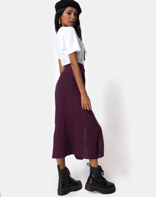 Marni Midi Skirt in Skater Polka Wine by Motel