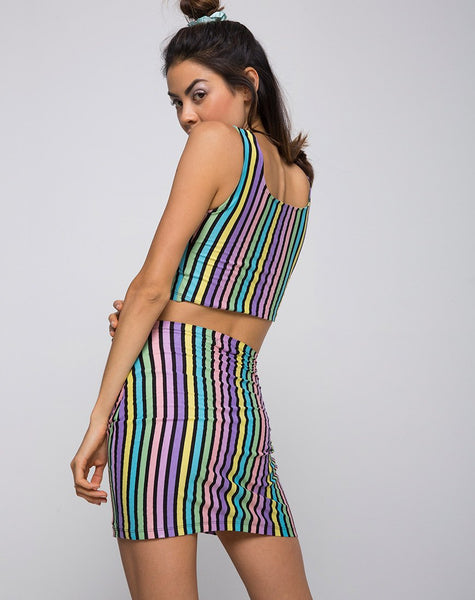 Kimmy Bodycon Skirt in New Stripe by Motel