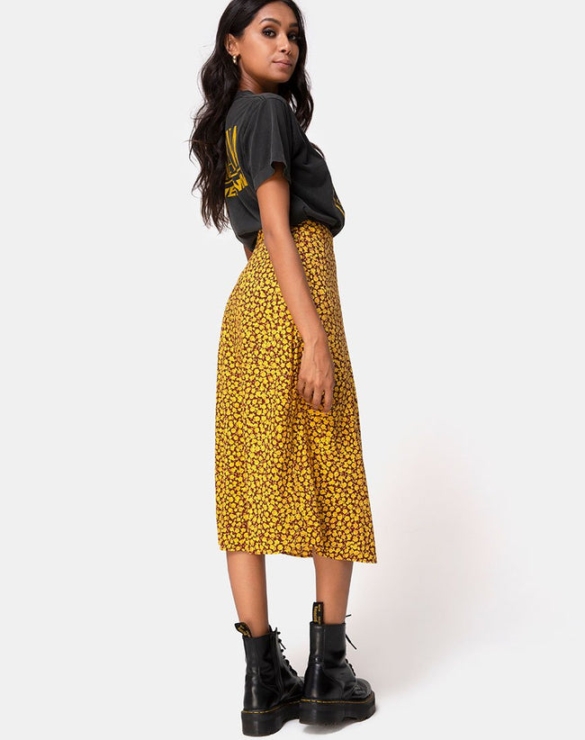 Saika Midi Skirt in Ditsy Rose Marigold by Motel
