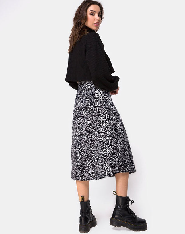 Saika Midi Skirt in Rar Leopard Grey by Motel