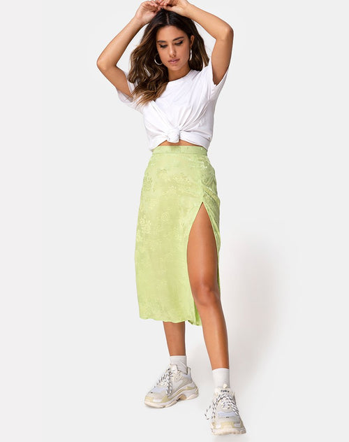 Saika Midi Skirt in Satin Rose Lime by Motel