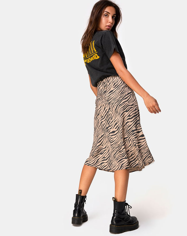 Tauri Midi Skirt in 90's Zebra Taupe by Motel