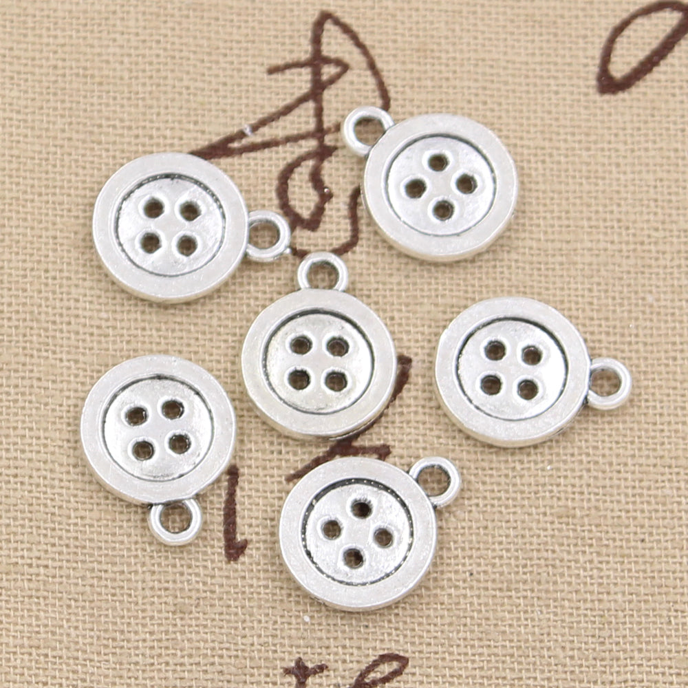 10pcs 13mm, Antique double sided button pendant
