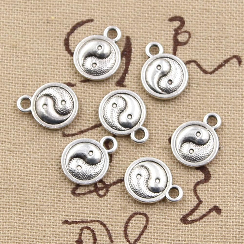 10pcs 10mm, Antique tai chi yin yang Charm/ pendant