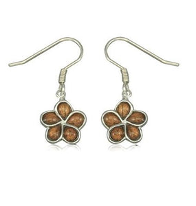 Sterling Silver Hawaiian Koa Wood Plumeria Fish Wire Earrings