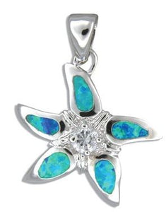 Sterling Silver Hawaiian Starfish Blue Opal Pendant with CZ