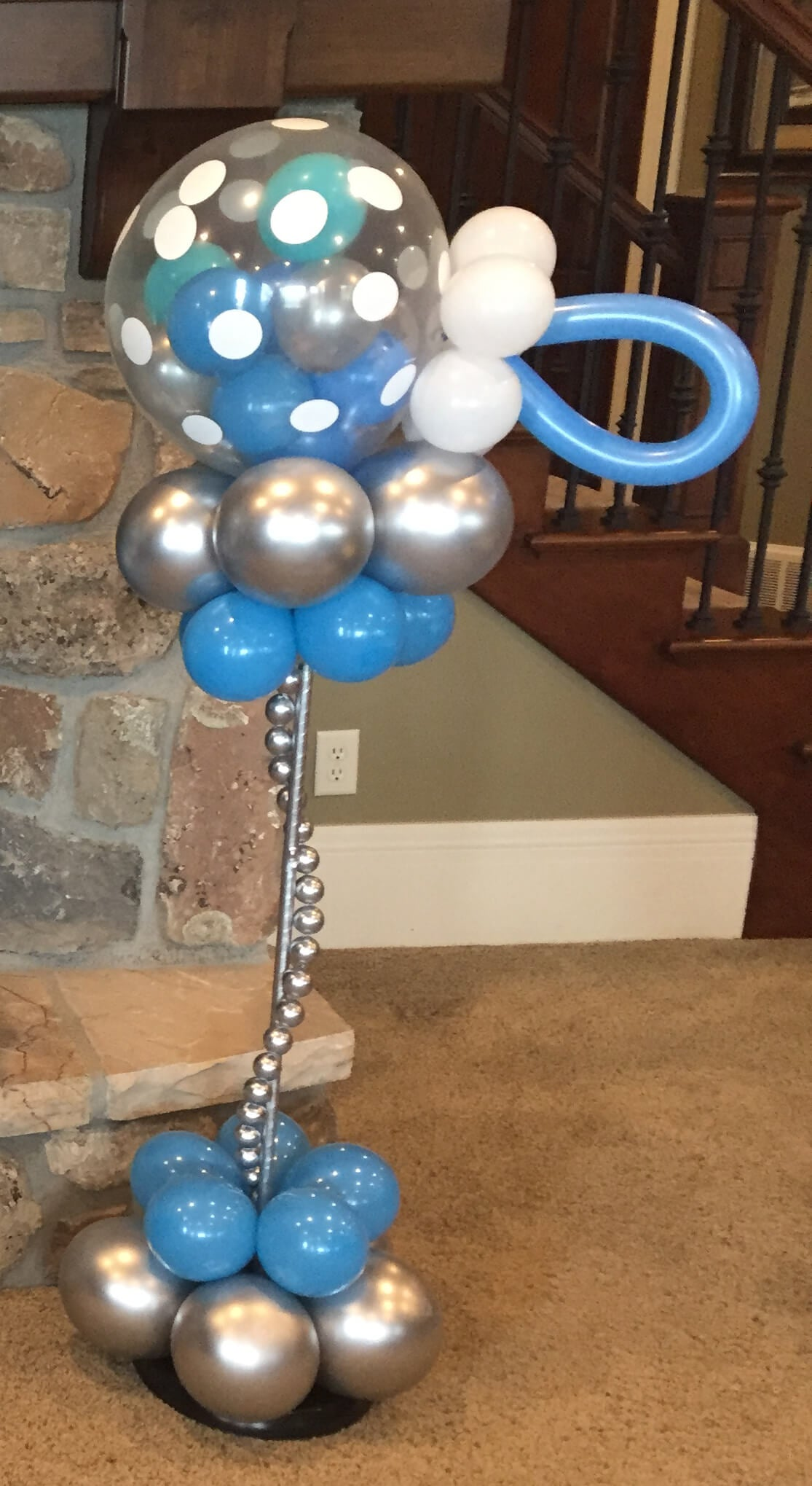 This beautiful balloon column is about 3-4' tall.