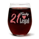 """21 Finally Legal"" Wine Glass and ""Happy Birthday"" Vanilla Sandalwood Candle Gift Set"