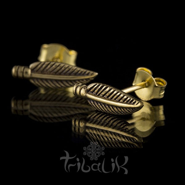 Brass Feather Ear Studs