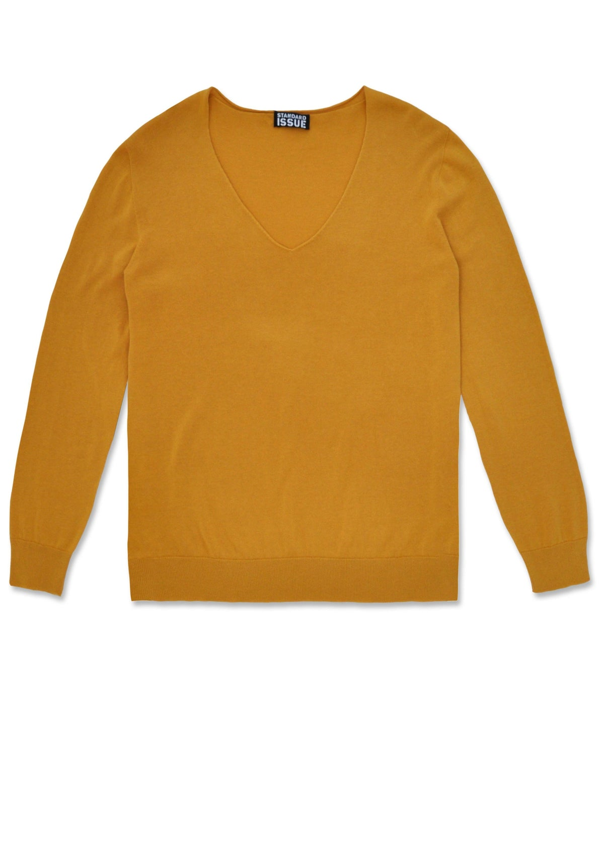 Standard Issue cotton v slouchy jumper in beeswax mustard yellow Knitwear Stockists Auckland Made in New Zealand NZ Designer Clothing