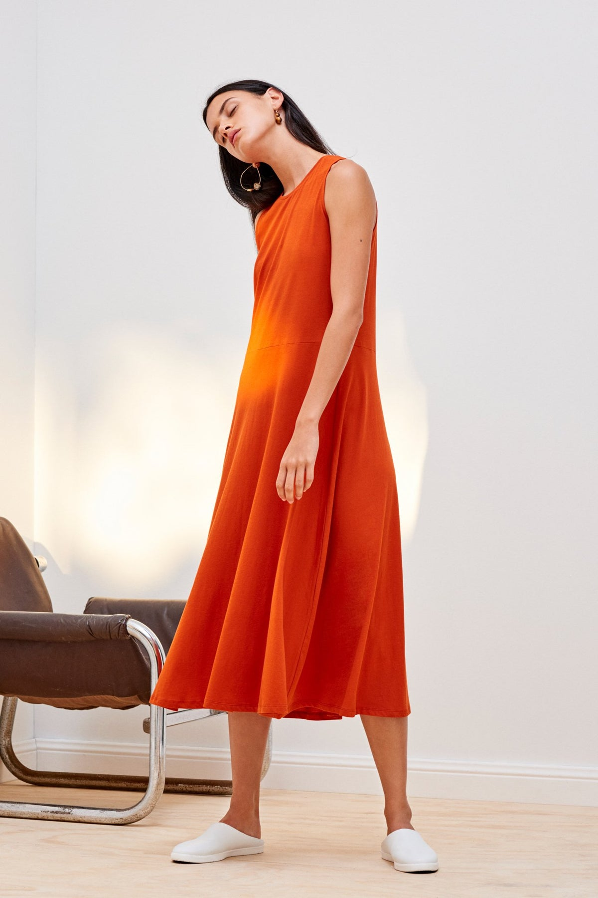 Kowtow Fitted A line Dress High Crew Neckline organic sustainable burnt orange easyfit