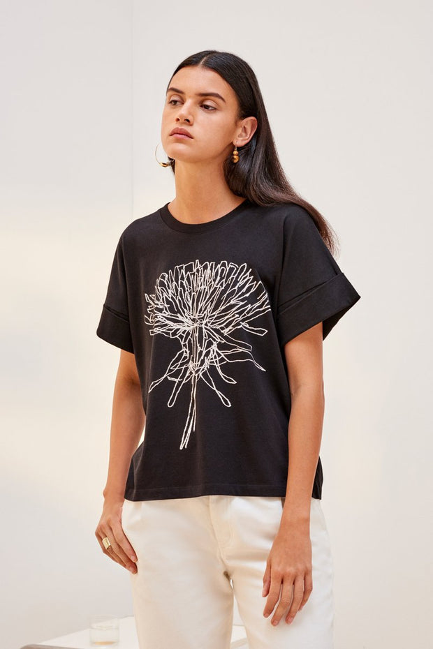 kowtow dandelion tee print black organic cotton ethical clothing stockists Auckland Ponsonby