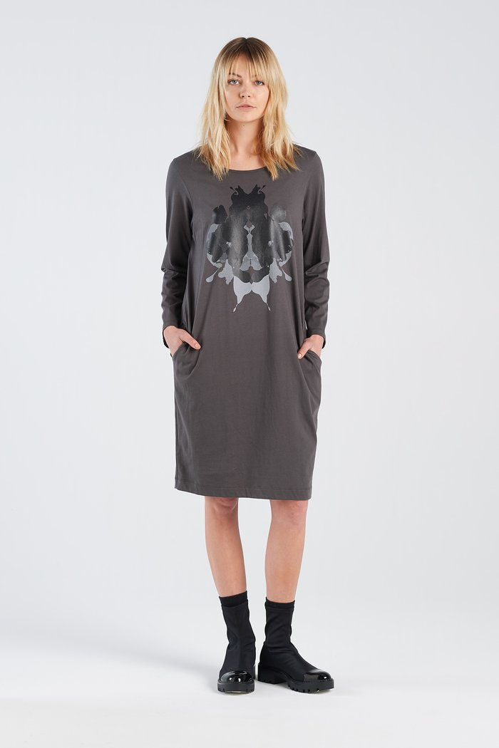 Distant dress Nine New Zealand made organic cotton Auckland Stockist original  Hermann print knee length