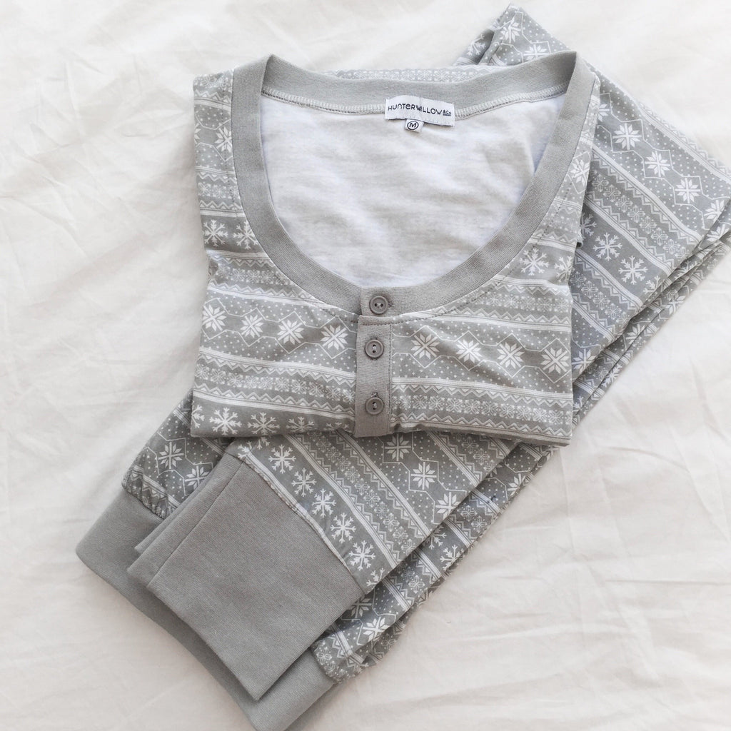 CLEARANCE ITEM- Ladies Grey Printed Pyjama Set
