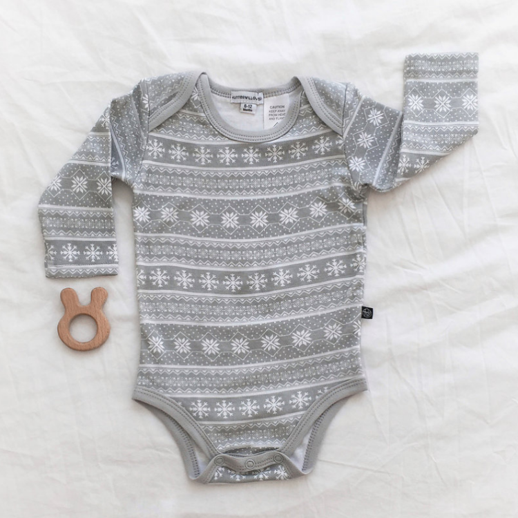 Grey Printed Baby Romper & Pant Set