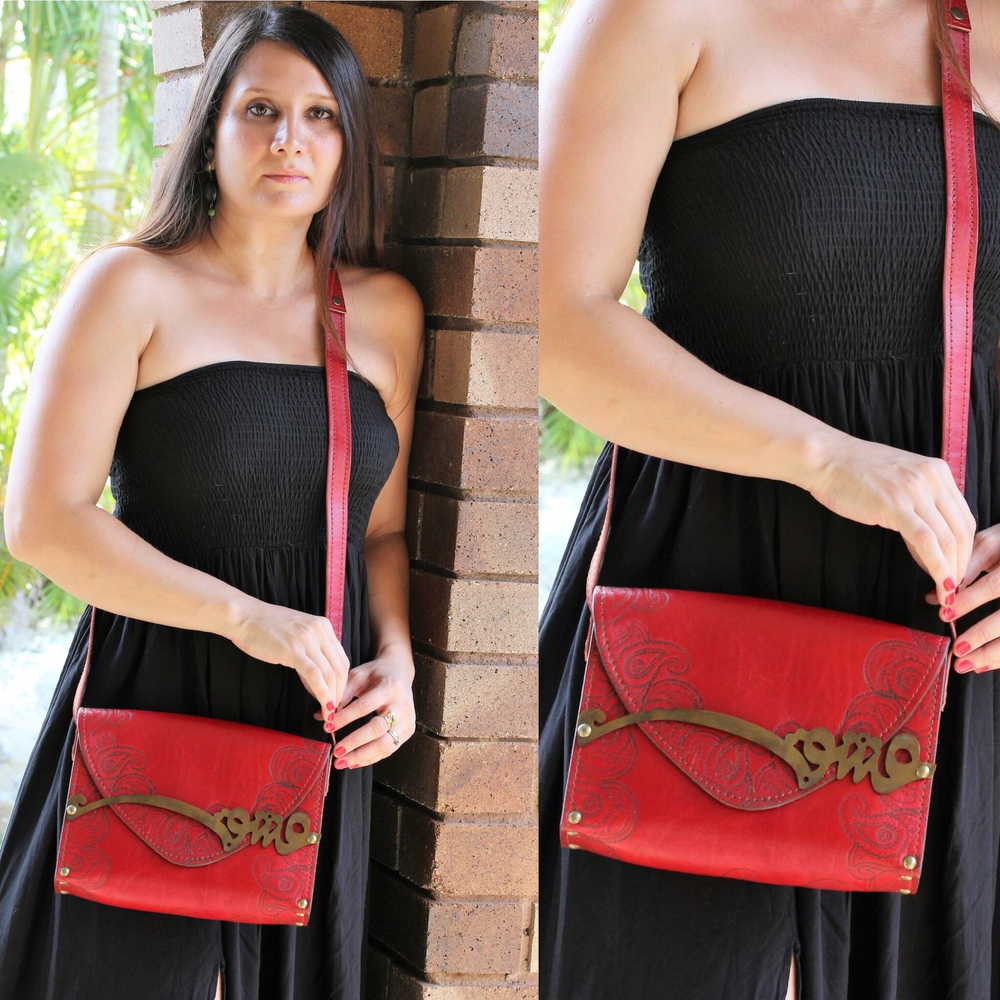 "Genuine leather and Wood Rumi ' Love "" shoulder bag"