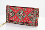 Red and Green Carpet Inspired Clutch with Long Golden Chain( Faux Leather inside) - Treasures of Silk Road