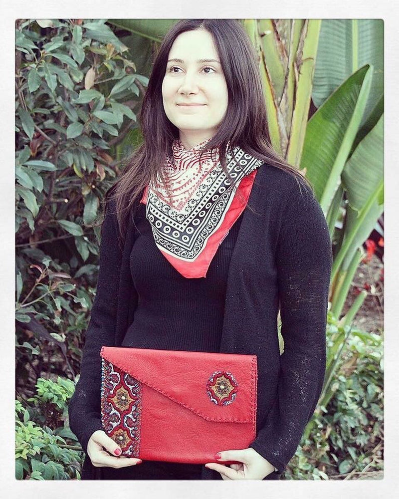 Red Handmade Genuine Leather Bohemian clutch