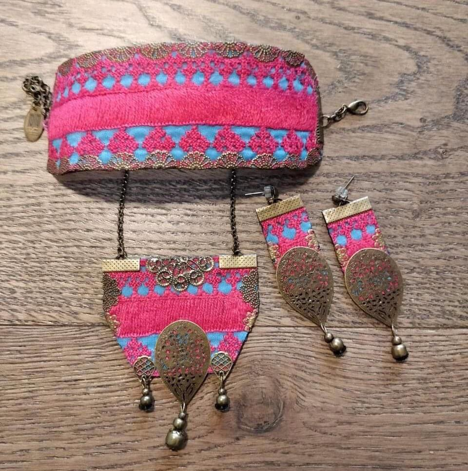 Set of Set of Pink Bohemian Hand Sewn Cuff, Necklace and Earrings