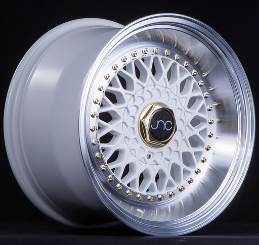 JNC004S White Machined Lip Gold Rivets - JNC Wheels