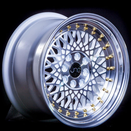 JNC031 White Machined Face Gold Rivets - JNC Wheels