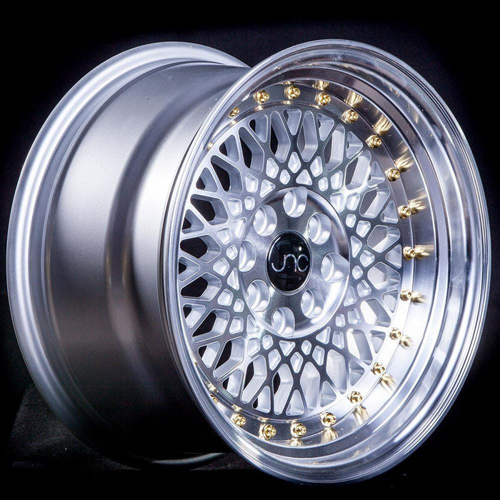 JNC031 Silver Machined Face Gold Rivets - JNC Wheels