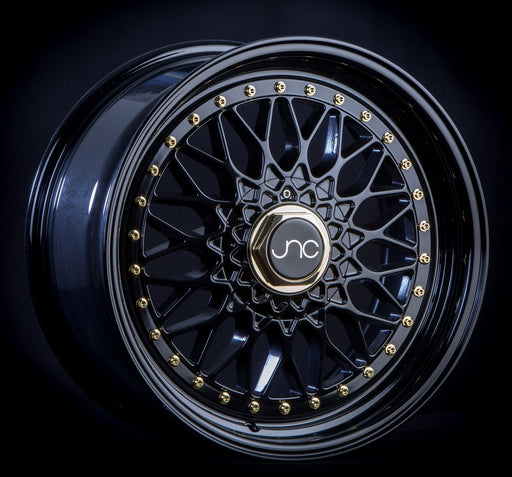 JNC004 Gloss Black Gold Rivets - JNC Wheels